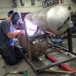 welding the supports in.