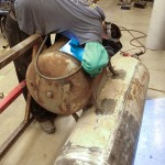 Welding the firebox plenum.