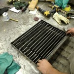 building the firebox grate from strips of 10 gauge.
