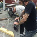 welding the elbow onto the 37 inch stack.